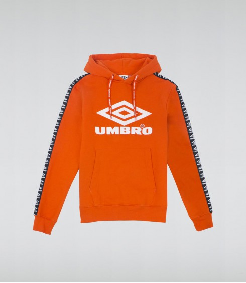 SWEAT A CAPUCHE BIG LOGO STREET ORANGE ET BLANC