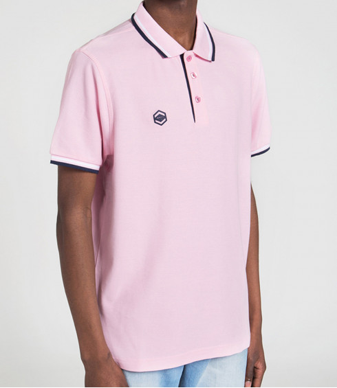POLO MAILLE PIQUE ROSE HOMME